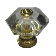 Hexagon Clear Cabinet Knob - 32mm - Gold Finish