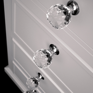 Pull Crystal Cabinet Knob - 25mm - Clear Crystal/Chrome Finish - GEO