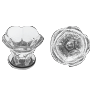 Glass furniture knob on brass base - Clear/Chrome Finish - Dia - 25mm - POMOLI