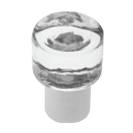 Glass furniture knob on brass base - Clear/Chrome Finish - Dia - 40mm - POMOLI