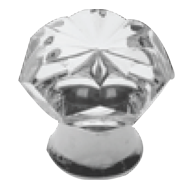 Glass furniture knob on brass base - Clear/Chrome Finish - Dia - 30mm - POMOLI