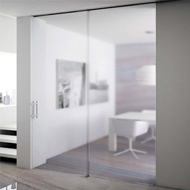 Invisible Telescopic Sincro Sliding System for 2 Panels - Anodized Aluminium Finish