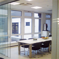 Telescopic Sliding 3 Door System + Fixed Panel - ceiling installation