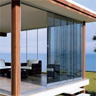 SYSTEM FOR 2 TELESCOPIC SLIDING DOORS - ceiling installation for 8-10 mm glass