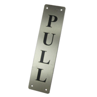 Pull Sign Plate - 75x300mm - Stainless Steel Finish