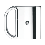 Lock with flush pull for disappearing doors - one side key one side WC cut - Satin N