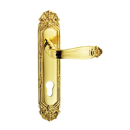 Ginevra Lever Handle on Plate in Satin Silver/Old Gold Finish