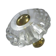 Crystal Cabinet Knob - Size - 50mm  - Transparent/Gold Finish