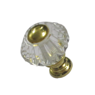 Diamond Crystal Cabinet Knob - Size - 30mm - Transparent/Gold Finish