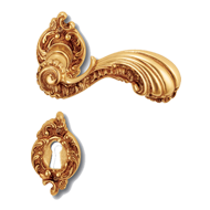 Lisbona Door Lever Handle on rose - Old Gold Finish