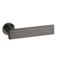 Wood Door Lever Handle on rose - Graphite Finish