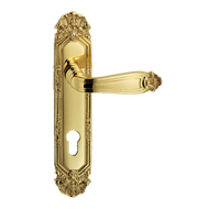 Ginevra Door Handle on Plate - Gold Fin