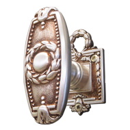 ORLEANS Door Knob on rose with escutcheon - Matt Silver/Old Gold Finish