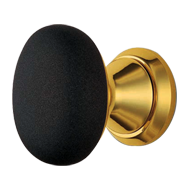 Loto Door Knob - Polished Brass/Matt Bl