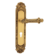 Paestum Door Handle on Plate - Gold Pla