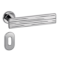 Wood Door Lever Handle on rose - Chrome