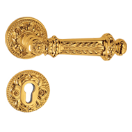 Paestum Door Handle on rose - Bronze Fi