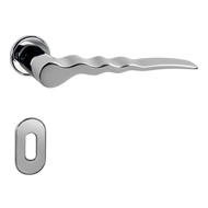 Door Lever Handle on rose - Polished Ch