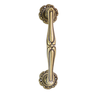 Door Pull Handle on rose - Gold Plated