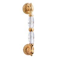 Crystal Door Pull Handle on rose - Gold Plated Finish