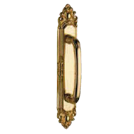 Door Pull Handle on Plate - Gold Plated
