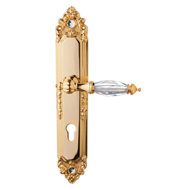 Crystal Lever Handle on Plate with key hole - Gold Plated Finish