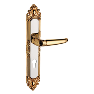Door Lever Handle on Plate with key hole - Matt Old Antique Finish