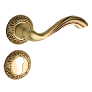 Door Lever Handle on rose with key hole - Matt Old Antique Finish