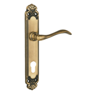 Door Lever Handle on Plate with key hol