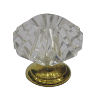 Crystal Cabinet Knob - Crystal/Gold Fin