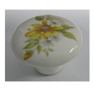 Flower Cabinet Knob - White/Multi Colou