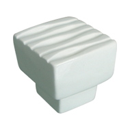 Waves Square Furniture Knob - Bright White Ceramic - 32X32mm