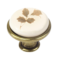 Porcelain Furniture Knob Beige With Brown Flower - Brass - 29mm