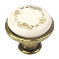 Porcelain Furniture Knob Beige With Flower Crown In Gold - Brass - 29mm