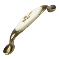 Furniture Handle - Porcelain Beige With Brown Flower metal Base - 96mm