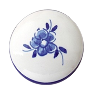 Furniture Knob - Hand Painted Ceramic With Blue Flower - 30mm