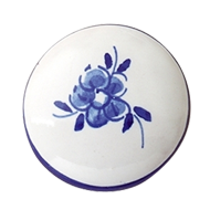 Furniture Knob - Hand Painted Ceramic With Blue Flower - 35mm