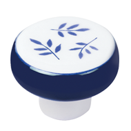 Furniture Knob - Porcelain Dark Blue Leaf Hand Painted - 39mm