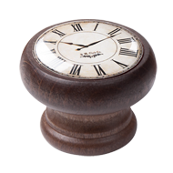 Furniture Knob - 40mm - Walnut Colour Wood White Clock