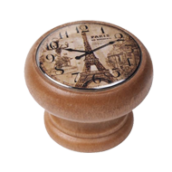 Furniture Knob - 40mm - Honey Colour Wood Clock Eiffel Tower