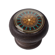 Furniture Knob - 40mm - Walnut Colour Wood Arabesque 1