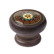 Furniture Knob - 40mm - Walnut Colour Wood Arabesque 2