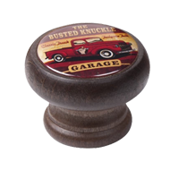 Furniture Knob - 40mm - Walnut Colour Wood Garage Pickup