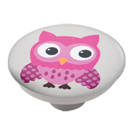 Pink Owl Grey Base Kids Cabinet Knob