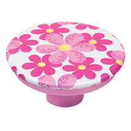 Furniture Knob - 50mm - Design  Pink Flowers White Base with Abs Material