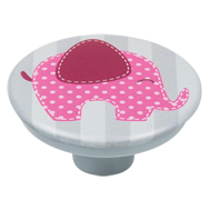 Pink Elephant Grey Base Kids Cabinet Knob