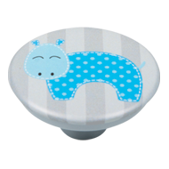 Blue Hippo Grey Base Kids Cabinet Knob