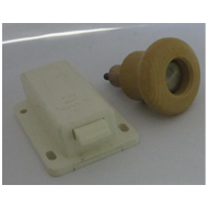 Push Latch With Knob - 50mm - Ivory/Woo