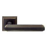 Door Lever Handle on Rose - Bronze Matt