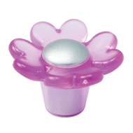 Cabinet Knob - 32mm - Pink/White Aluminium Colour - Flower Design